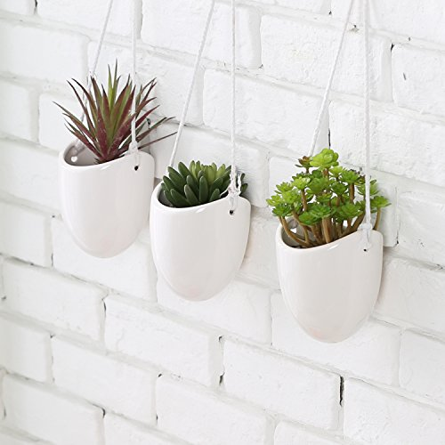 MyGift Modern Ceramic Hanging Planters, Succulent Plant Pots, Set of 3,...