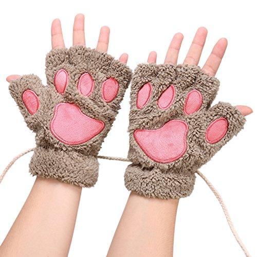 Parabler Fingerlos Handschuhe Katze-Greifer-Tatze Plüsch Fäustlinge Niedliche Cartoon Halbfinger Winter Warme Halbfinger Fausthandschuh Outdoor Fingerless Gloves
