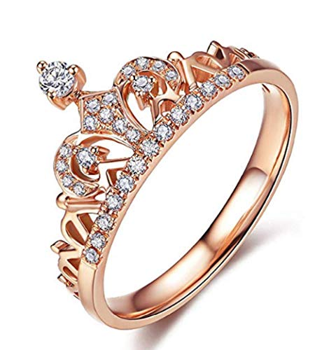 Lzz 18K Rose Gold Gold Plated Transparent Exquisite Princess Queen Crown Headdress Ring Compact Round Cut White Cubic Zirconia Diamond Accent Fashion Promise Ring Size 5-10 (US Code 9)
