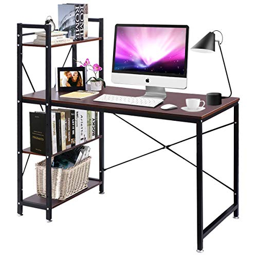 TANGKULA 47.5 Computer Desk, Modern Style Writing Study Table with 4 Tier Bookshelves, Home Office Desk, Compact Gaming Desk, Multipurpose PC Workstation