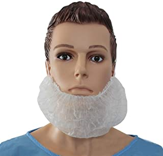 White Disposable Bouffant Beard Nets Cover 100 Pcs Polypropylene Heavy Duty Beard Caps Facial Hair Covers Beard Protectors for Men's Beard Care, Food Service, Dust-Free Factory, Hospital, Laboratory