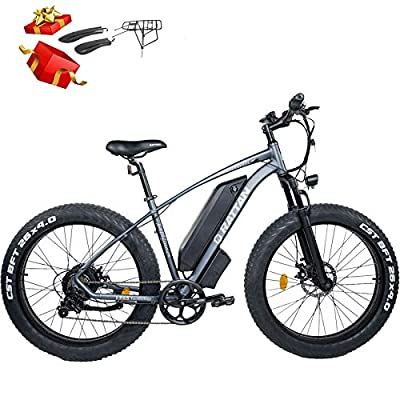 "Rattan Electric Bike 750W 48V 26 Inch Fat Tire Electric Bike 4.0"" Snow Bike 28MPH Snow/Beach/Mountain Off-Road Electric Bikes 13AH Power E-Bike Shimano 7 Speed Shifter Electric Bicycle (Gray)"