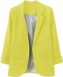 e45c26bd1d1 Nadition Women s Coat 🌲 Fashion Ladies OL Style Nine Quarter Cuffed Sleeve  Blazer Elegant Lapel Slim