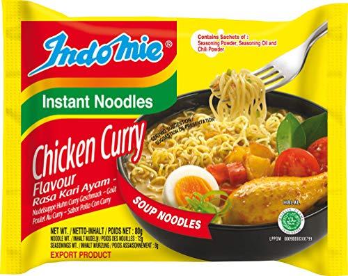INDOMIE Instantnudeln Curry Huhn, aus Indonesien, schnelle, einfache Zubereitung – 40er Vorteilspack à 80 g