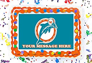 Miami Dolphins Cake Topper Edible Image Personalized Cupcakes Frosting Sugar Sheet (8