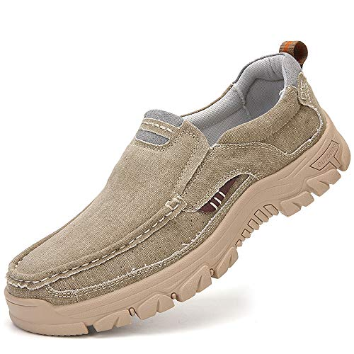 VENSHINE Mens Canvas Slip On Loafers Casual Walking Office Driving Breathable Shoes Kakhi