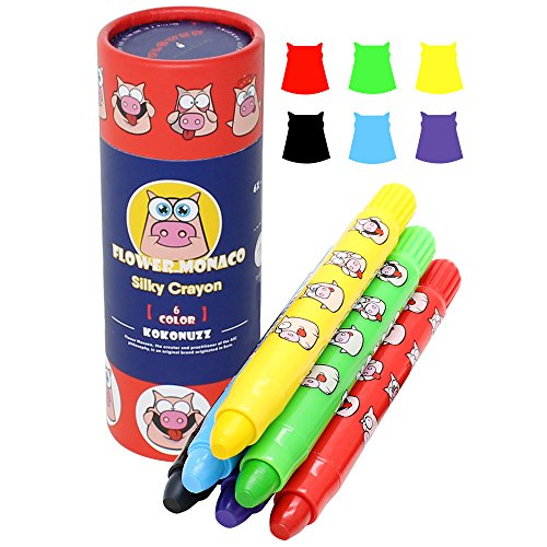 Toddler Crayons, 6 Colors Non Toxic Silky Washable Crayons, Easy to Hold Twistable Large Crayons for Kids, Safe for Babies and Children Flower Monaco