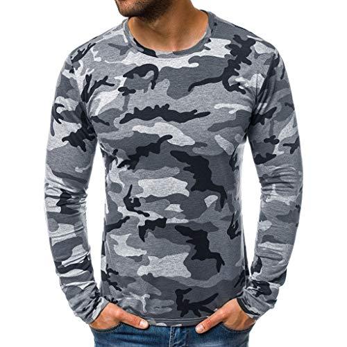 TUDUZ Camiseta Hombre Manga Larga Camisa Camuflaje Labor De Retazos Top Moda Casual Ropa Otoo (GrisB, S)