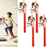 4PCS Inflatable Stick Horses - Western Cowboy/Pony/Christmas/Horse Themed Kids Birthday Party/Baby Shower Party Supplies Decorations Goodie Bag Stuffers Favors Inflatable Costume Stick Horse