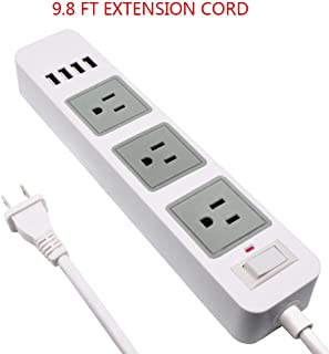 Power Strip White 2 to 3 Prong, 2 Prong USB Power Strip with 9.8ft Extension Long Cord, 3-Outlet Surge Protector with 4 USB Charging Ports for Workbench, Nightstand, Home, Office and Hotel
