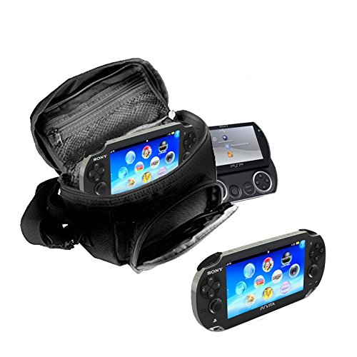 Orzly - Funda para Sony PSP (GO/VITA/1000/2000/3000) - Funda para Consola, Juegos y Accessarios Bolso Incluye: Correa para el Hombro Ajustable + Llevan la Manija + Fijación a un Cinturón - Negro