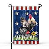 HMHN Welcome Farm Rooster Sunflower Garden Flags Double Sided July 4th Patriotic Decorations, Farmhouse Seasonal Outdoor Vintage D¨¦cor 12.5 x 18.5 inch