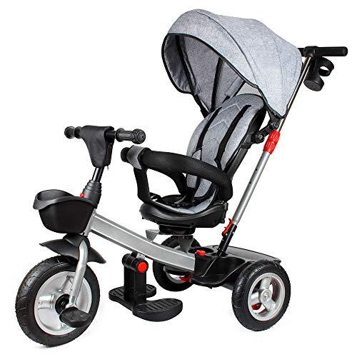 Dreirad für Kinder, 4 in 1 Kinderdreirad mit Lenkbarer Schubstange, 360° Drehsitz, ab 9 Monate bis 5 Jahre, Belastbarkeit bis 25 kg