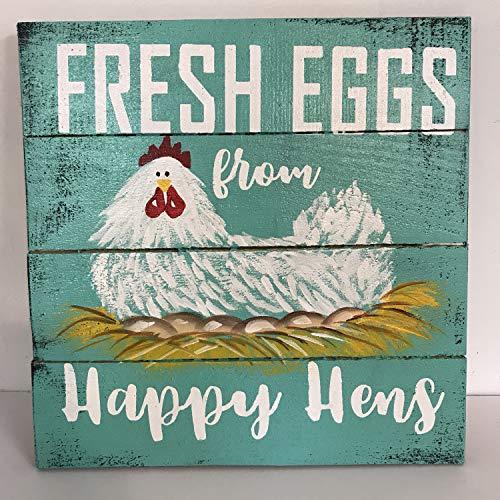 Yilooom Fresh Eggs From Happy Hens Schild Huhn on Nest Malerei Holz