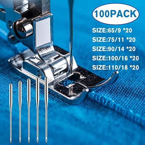 100 agujas para máquina de coser, bricolaje, universales, agujas de tejer bordado para Singer, Brother, Janome, herramienta de corte, suministros – 5 tamaños 9/11/14/16 y 18