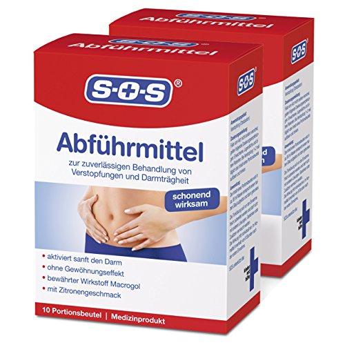 SOS Abführmittel (2er Pack) - zur zuverlässigen Behandlung von Verstopfungen und Darmträgheit (2x10 Portionsbeutel)