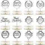 12 Piezas Topper de Pastel de Happy Birthday Topper de Magdalena de Cumpleraños Acrílico Decoraciones de Palo de Pastel para Fiesta Cumpleaños, 6 Estilos (Plata)