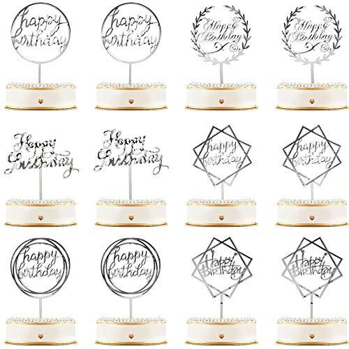 12 Stück Happy Birthday Kuchcen Topper Acryl Geburtstag Cupcake Topper Kuchen Pick Dekorationen für Geburtstag Party Kuchen Desserts Gebäck, 6 Arten (Silber)