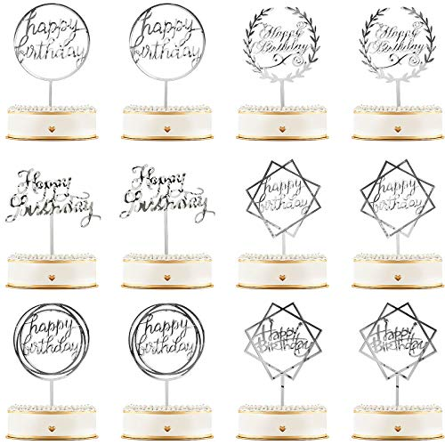 12 Pieces Happy Birthday Cake Topper Acrylic Birthday Cupcake Topper Cake Pick Decorations for Birthday Party Cake Desserts Pastries, 6 Styles (Silver)