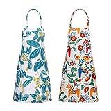 Bestomrogh 2 Pezzi Grembiule da Cucina Chef quadri Grembiule Cucina Lino in Cotone da Cucinare Regolabile con Tasche Impermeabile Grembiule