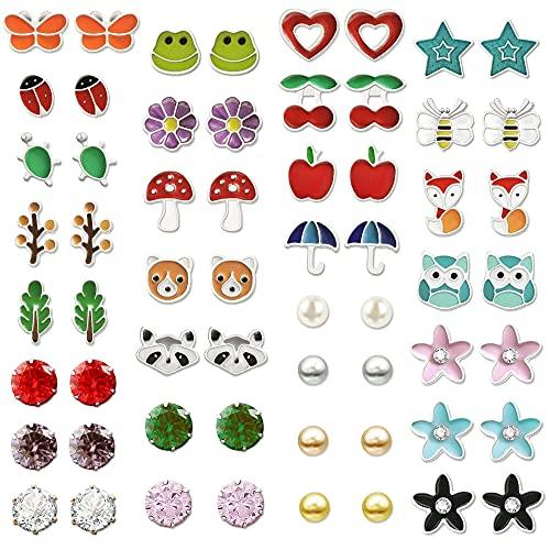 Kudiro Juego de 60 pendientes para niña, diseño de bola de perlas de cristal, hipoalergénicos, para niñas y adolescentes