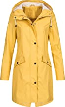FengGa Women's Solid Rain Jacket Outdoor Jackets Waterproof Hooded Raincoat Windproof