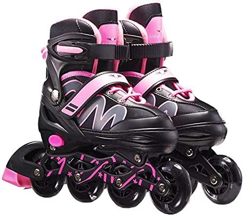 Herren Damen verstellbare Inliner Inlineskates,Größe 26-42 Unisex Fitness Skates für Erwachsene Rädern Rollschuhe für Jungen Mädchen Anfänger-Pink_L(38-42)