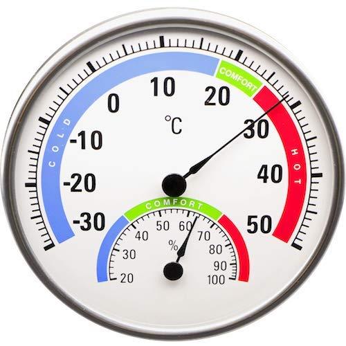 Technoline analoges Thermometer WA3050, rundes Thermo-Hygrometer mit Komfort-Anzeige, analoge Luftfeuchteanzeige