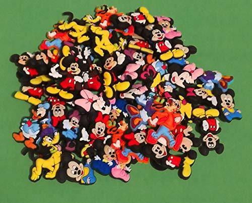 50 Stück zufällig / nur 16 Zeichen – 2D PVC Schuh Charms – Disney Mickey Minnie Maus – ähnlich wie Jibbitz und passend für Crocs