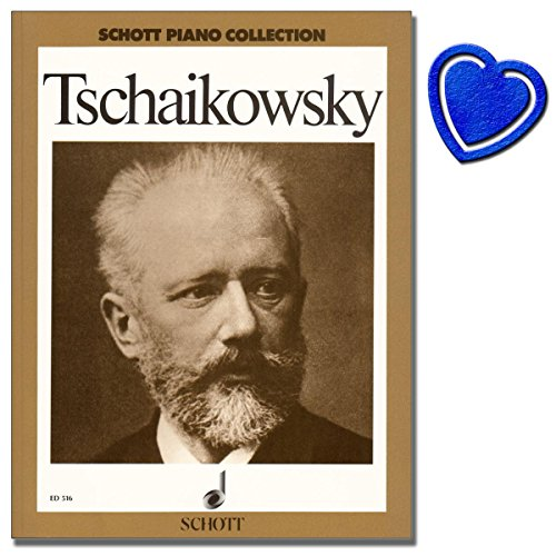 Tschaikowsky Ausgewählte Werke ( inkl: Barcarole, Herbstlied Oktober, Troika November, Humoresque ) - Schott Piano Collection - Klavier Noten mit bunter herzförmiger Notenklammer