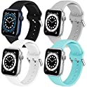 4-Pack Soft Silicone Replacement Bands Compatible with Apple Watch