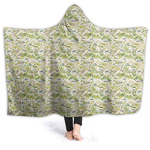 Shotngwu Hooded Blanket Pastell Spirituelle Print Soft Throw Wrap tragbare Decken Neuheit Cape für Kinder Erwachsene 50W by 40H Zoll (mit Kapuze)