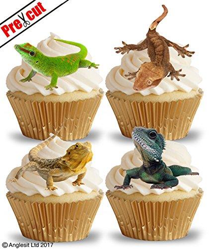 vorgeschnittenen Eidechsen essbarem Reispapier/Waffel Papier Cupcake Kuchen Dessert Topper Geburtstag Party Dekorationen