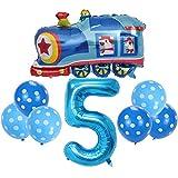 DIWULI, Juego de globos de locomotora, globo XXL del número 5, 5° cumpleaños