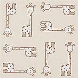 Ockerfarbener Baumwollstoff mit hellbeigefarbenen Giraffen