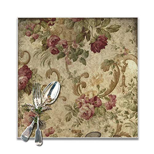 Vintage Tapestry Mauve Beige Green Placemats for Dining Table Set of 6 Decorations Washable Xmas New Year Kitchen Holiday Table Placemat,12 x 12 inches