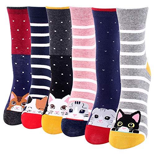 BONANGEL Calcetines Divertidos para Mujer, Calcetines de Animales, Novedad Bonita, Calcetines de Fantasía Coloridos Algodón Extraño, Cálidos Cumpleaños, Navidad para Mujeres (6 Pairs-Cat3)