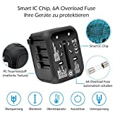 Reiseadapter Reisestecker Universal Travel Adapter USB Reiseadapter Weltweit Steckenadapter USB Stecker Steckdose Adapter mit 3 USB Ports+Type C für 224 Ländern Europa UK Australien USA China - 4
