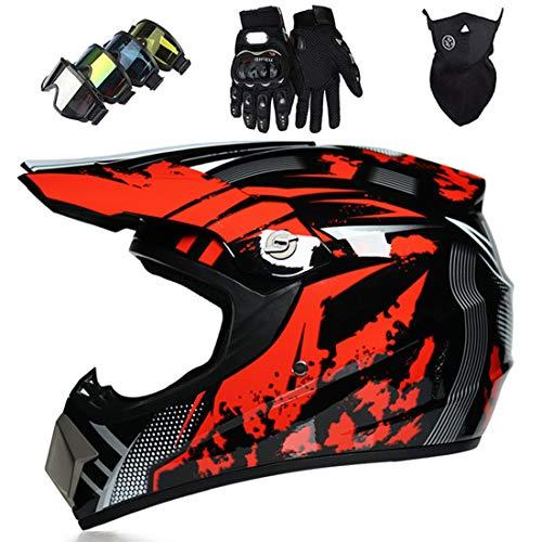 Casco de motocross para niños con máscara guantes gafas,Conjunto casco integral MTB,Casco protección unisex para motocicleta Dirt Bike ATV Road Downhill Motorbike,Certificación DOT & ECE, rojo negro