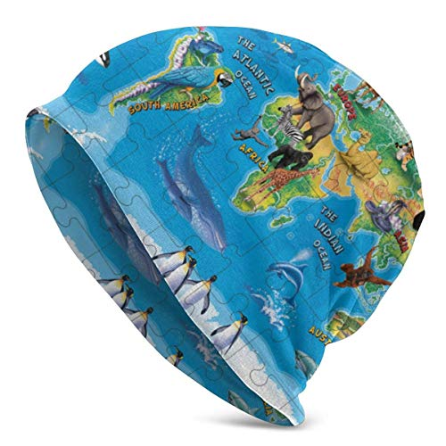 FETEAM Gorro Slouch Beanie, Transpirable, Ligero, Elástico, Suave Gorra de Calavera Mapa Mundial de Especies