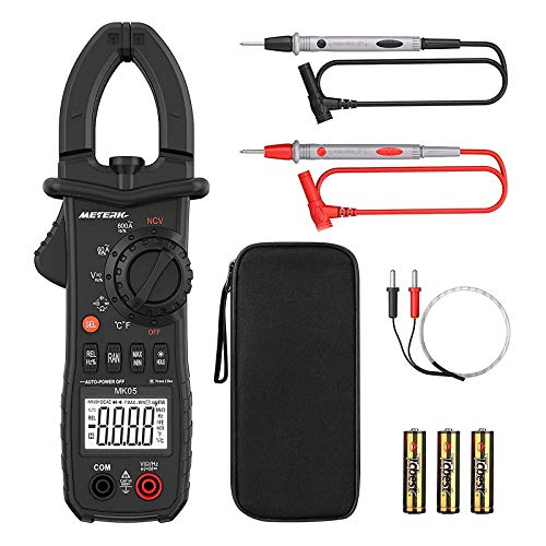 Digital Clamp Meter Meterk 6000 Counts TRUE RMS NCV AC/DC Voltage Auto Range AC Current Clamp Multimeter Capacitance Resistance Frequency Temperature Measure (Black Digital Clamp Meter)