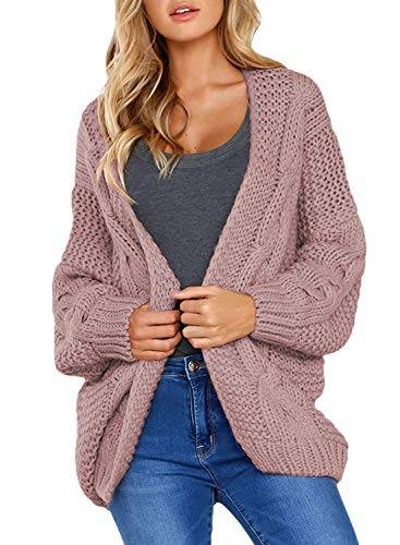 Aleumdr Strickjacke Damen Grobstrick Strickmantel Strickcardigan Damen Herbst Winter Casual Open Front Sweater Cardigan Cover up Patchwork Outwear ,Rosa,M