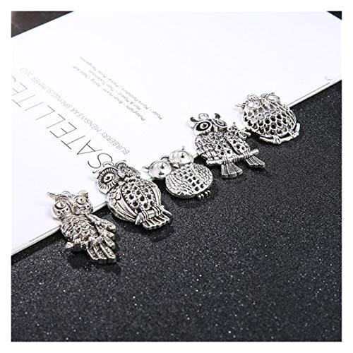 HONGTAI 10/20pcs Metal Owl Birds Animal Charms Beads Hecho a Mano para Pulsera Colgante Artesanía Joyas Haciendo hallazgos (Color : Antique Silver, Size : 10)