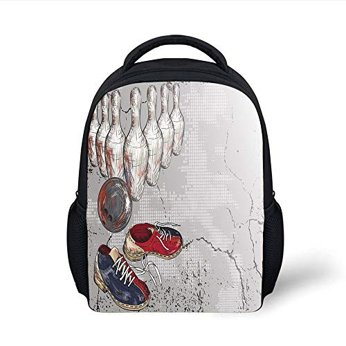 Kids School Backpack Bowling Party Decorations,Bowling Shoes Pins and Ball Artistic Grunge Style Decorative,Light Grey Red Dark Blue Plain Bookbag Travel Daypack