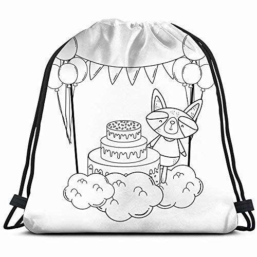 Raccoon Cake Balloons Helium Field Animals Wildlife Air Holidays Drawstring Backpack Gym Sack Sport Beach Daypack voor meisjes mannen en vrouwen Teen Dance Bag Cycling Hiking Team Training 14 x 17 inch