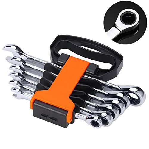 Conjunto de llaves de 6pcs Conjunto de trinquete de cabeza flexible de llaves combinadas llaves métricas spanners spanners conjunto reparación de automóviles herramientas de mano