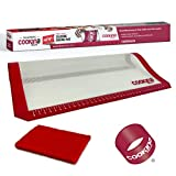 COOKINA Silicone Reusable Baking Mat 100% Non-Stick, Easy to Clean Cooking Sheet for Gas, Electric, Toaster and Convection Ovens, 16.5 x11-inch, White and Red
