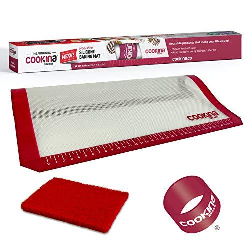 COOKINA Wiederverwendbare Backmatte aus Silikon, 100% Antihaftbeschichtung, leicht zu reinigen, für Gas-, Elektro-, Toast- und Konvektionsöfen, 41,9 x 27,9 cm, Weiß und Rot