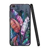 Pnakqil Funda Huawei P8 Lite 2017 Silicona Ultrafina Negra con Dibujos Diseño Suave TPU Gel Antigolpes de Protector Piel Slim Case Cover Cárcasa Fundas para Movil Huawei P8Lite, 3 Hojas