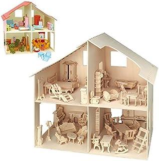 Matches21 3D Puppenhaus & Möbel Holz Bausatz 40x37 cm Kinder Kinder Kinder Bastelset Werkset - Steckbausatz & Bemalen - ab 10 Jahren B00JMEK9AG  Ausgezeichneter Wert 92b981